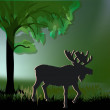 Elk silhouette under green tree - Stockvektor