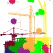 House building and cranes in color blots - Vektorgrafik