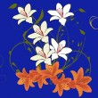 White and orange lily flowers on blue — Stock Vector #6649772