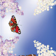 Butterflies and lilac flowers on sky background — Stock Vector
