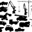Heavy machinery and cranes silhouettes - Stock Vector