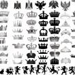 Large set of grey crowns and heraldic animals - Stok Vektör