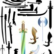 Weapon collection isolated on white — Stock Vector