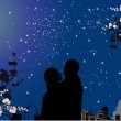 Couple under star sky and full moon — Stock Vector #6649869