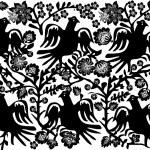 Bird black on white ornament — Stock Vector