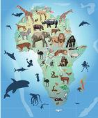 Wild animals in Africa illustration — Stock Vector