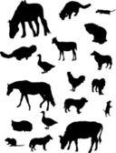 Farm animal silhouettes set — Stock Vector