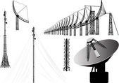 Set of antenna silhouettes isolated on white — Stock Vector