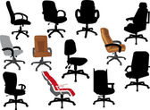 Set office chairs isolated on white — Stock Vector
