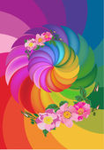 Abstract rainbow design with brier flowers — Stock Vector