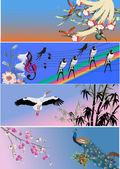 Fourdecorated bandas com pássaros — Vetorial Stock