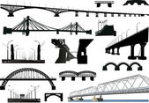 Collection of isolated bridges — Stock Vector