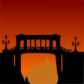 Bridge above precipice and orange sunset — Stock Vector