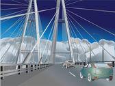 Carros na ilustração moderna ponte — Vetorial Stock