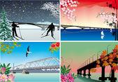 Dört mevsim köprüler illüstrasyon — Stok Vektör