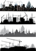 Four cities silhouettes — Stock Vector