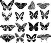 Sixteen black butterflies — Stock Vector