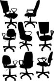 Eight office chairs collection — Stock Vector