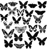Vinte e quatro borboletas pretas — Vetor de Stock
