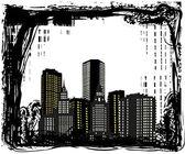 Buidings in grunge frame illustration — Stock Vector