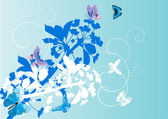 White and blue floral illustration with butterflies — Stock Vector