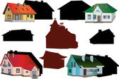 Set of cottages isolated on white background — Stock Vector
