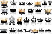Siyah ve altın kron koleksiyonu — Stok Vektör