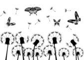 Black dandelions and butterflies — Stock Vector