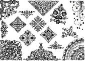 白地に黒のシンプルな装飾を設定します。 — ストックベクタ