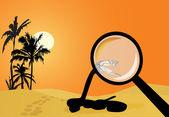 Cobra na ilustração no deserto de areia — Vetorial Stock