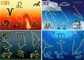Four groups of zodiac symbols — Stock Vector