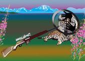 Tigre en la ilustración de vista — Vector de stock