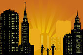 Family in city at orange sunset — Stock Vector
