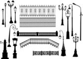Fences and street lamps collection — Stock Vector