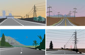 Roads and electric lines four illustrations — Stock Vector