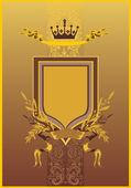 Gold und braun rahmen mit krone — Stockvektor