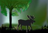 Silhouette de wapitis sous arbre vert — Vecteur
