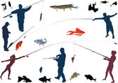 Set of fishermen and fishes — Stock Vector