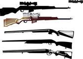 Set of rifles on white — Stock Vector