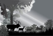 Deer silhouettes in grey forest — Stock Vector