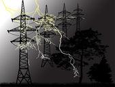 High-voltage line in forest under lightning — Stock Vector