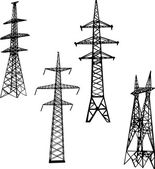 Four electric towers illustration — Stock Vector