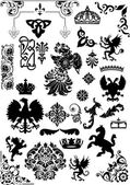 Set of isolated heraldic animals and ornaments — Stock Vector