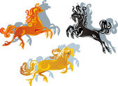 Three color horses on white — Stock Vector