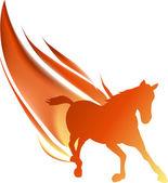 Flame running horse on white — Stock Vector