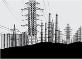 Industrial landscape with electric towers — Stockvector