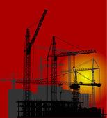 Pôr do sol vermelho e construção de paisagem — Vetorial Stock