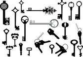 白で隔離される keys コレクション — ストックベクタ