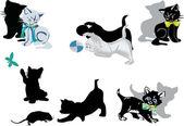 Conjunto de gatitos aislado en blanco — Vector de stock