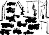 Heavy machinery and cranes silhouettes — Stock Vector